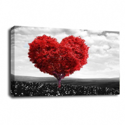Love Heart Tree Wall Art Picture Abstract Red Grey White Floral Print